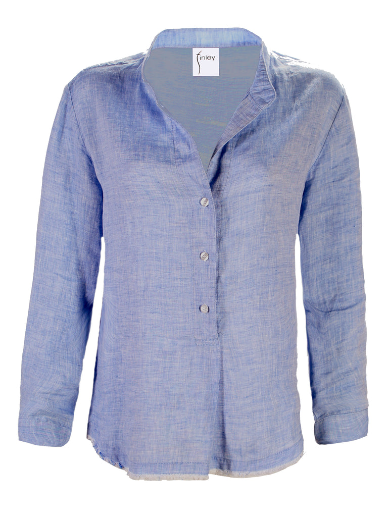 Washed Linen Henri Shirt Blue