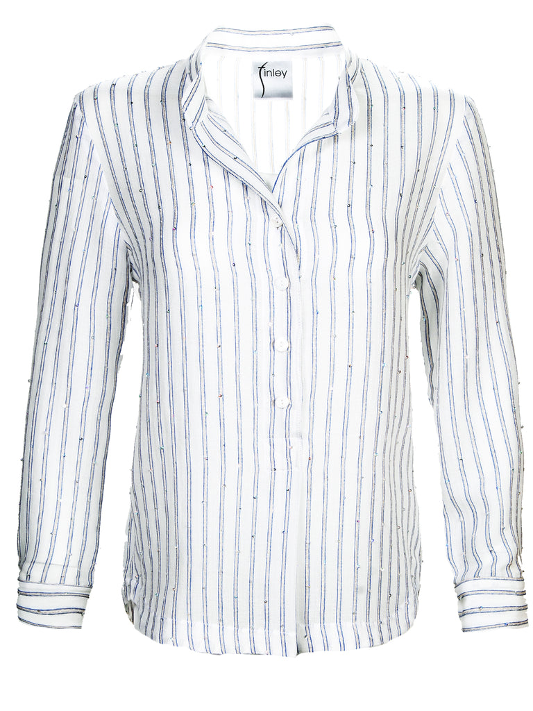 Henri Shirt Pale Blue Sequin Stripe