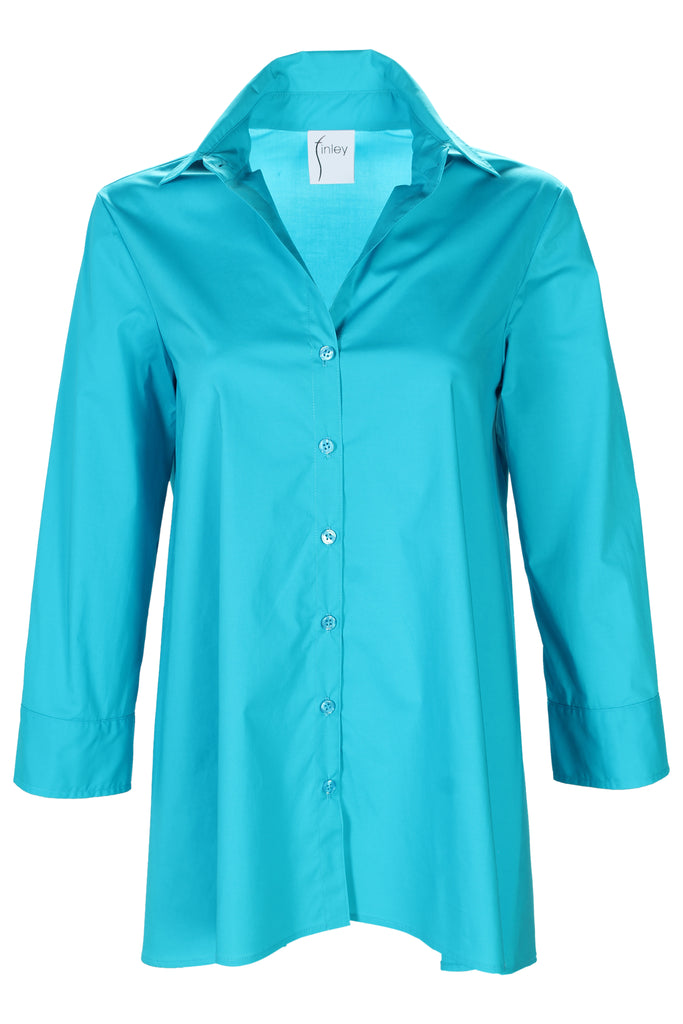 Trapeze Top 3/4 Sleeve Bright Turquoise