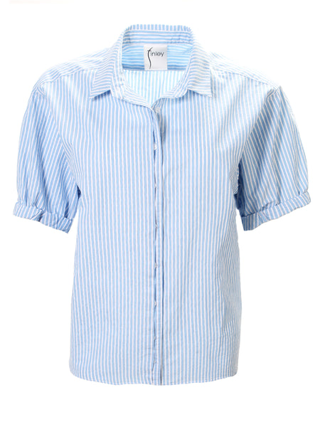 Izzy Camp Shirt Baby Blue Washed Cotton