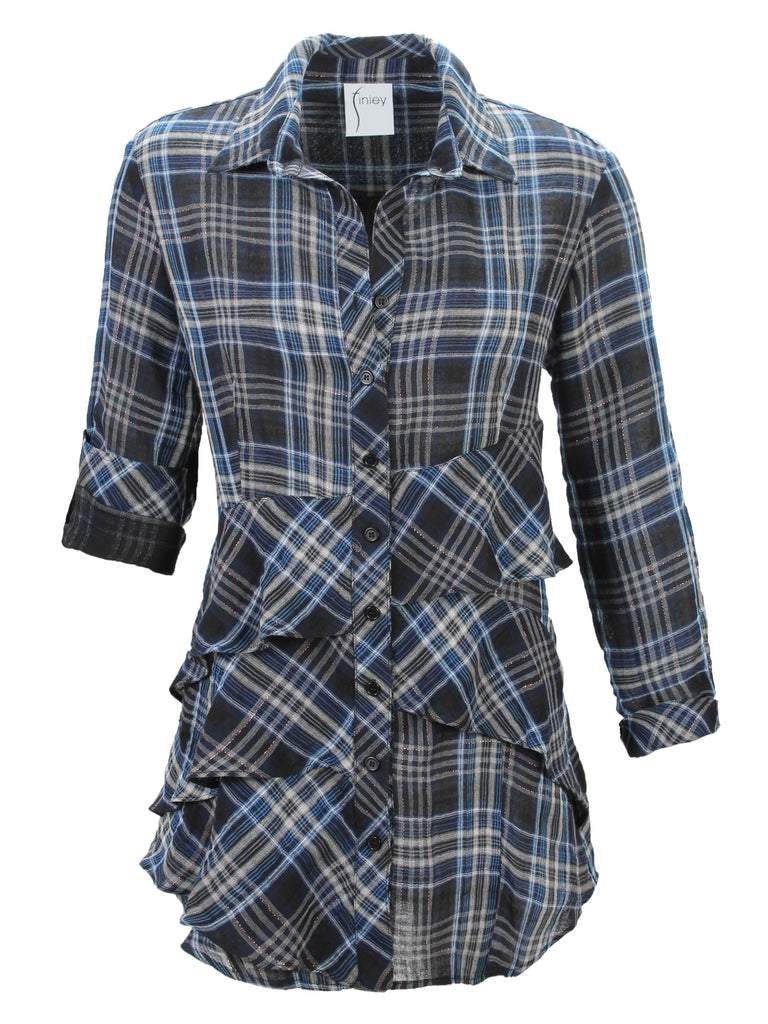 Jenna Long Sleeve Shimmer Plaid