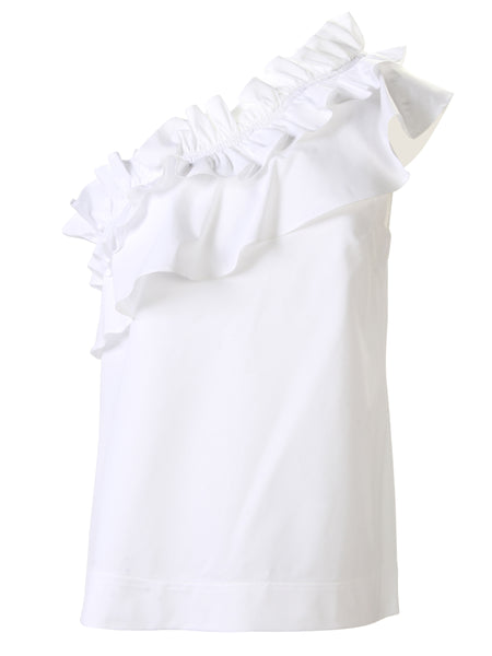 Kate One Shoulder Top White