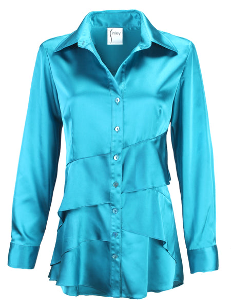 Jenna Turquoise Satin Long Sleeve