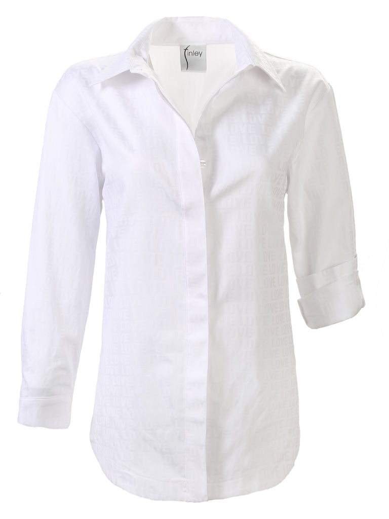Boyfriend Shirt White LOVE Jacquard N