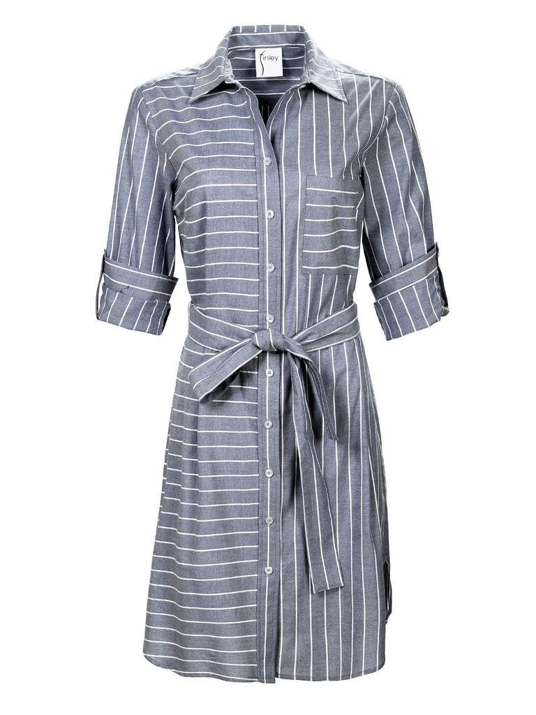 Parker Shirtdress Charcoal Stripe