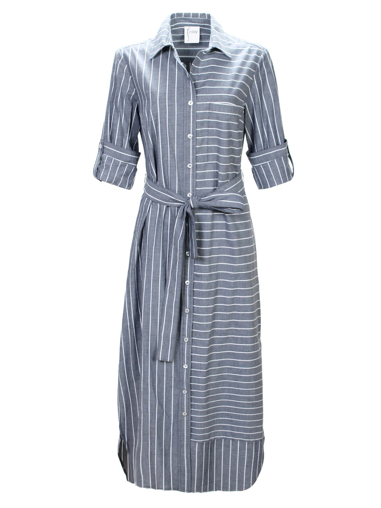 O'Brian Long Shirtdress Charcoal Stripe