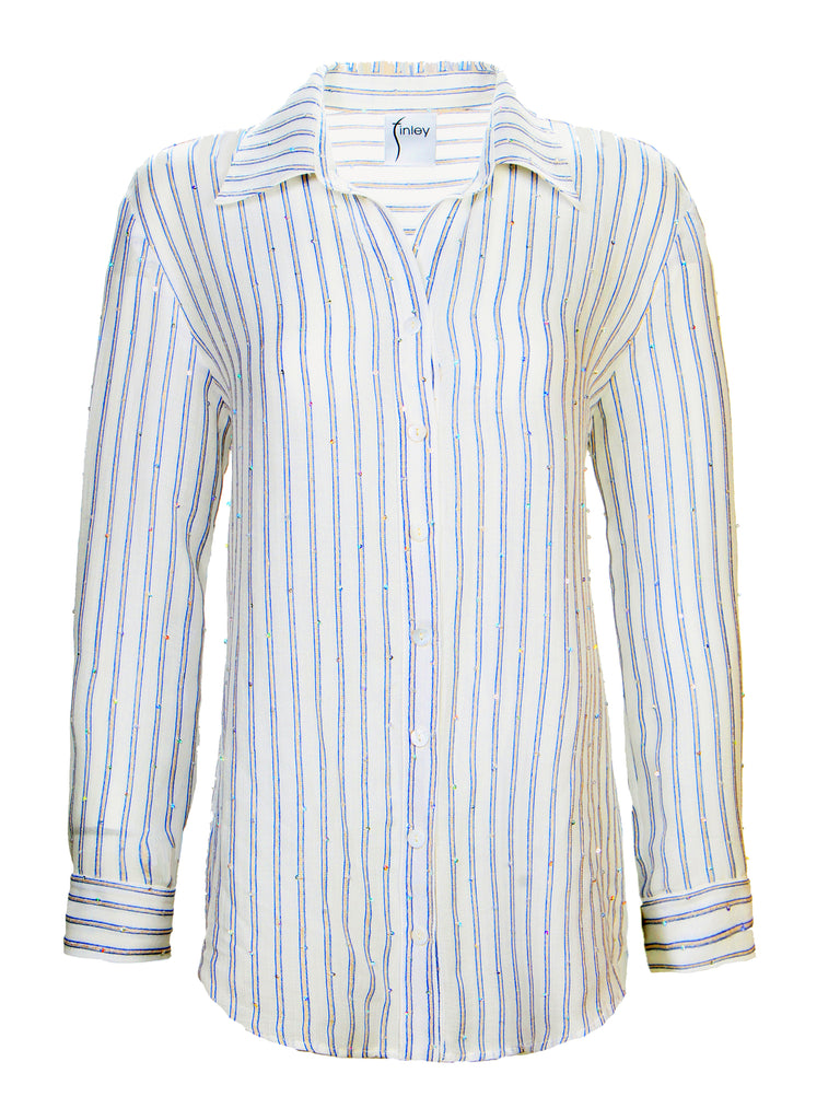 Monica Pale Blue Sequin Stripe