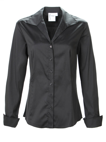 Revere Collar Shirt Silky Poplin Black