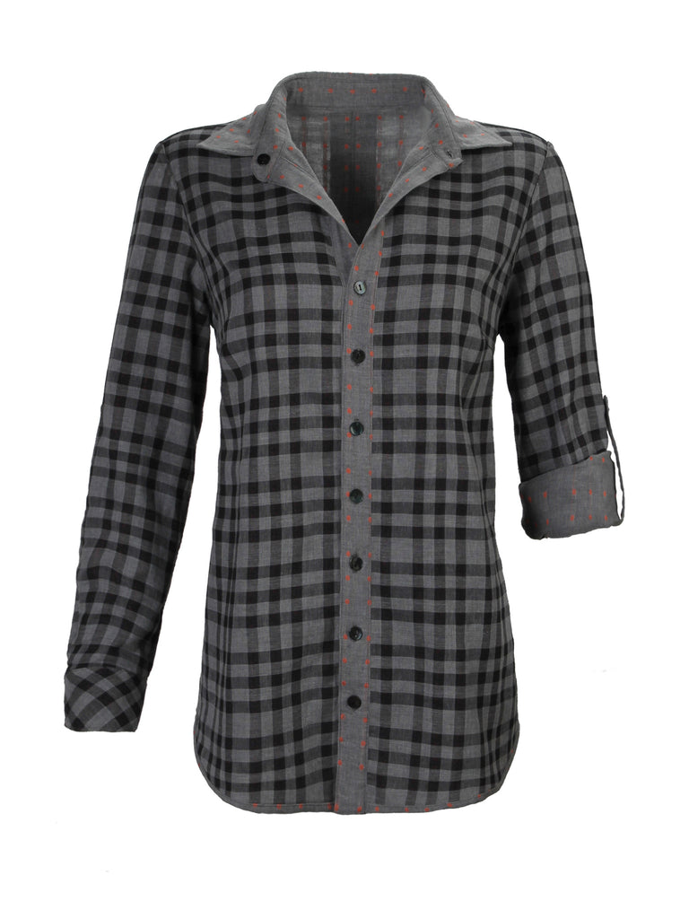Marley Swing Back Shirt Reversible Plaid Flannel