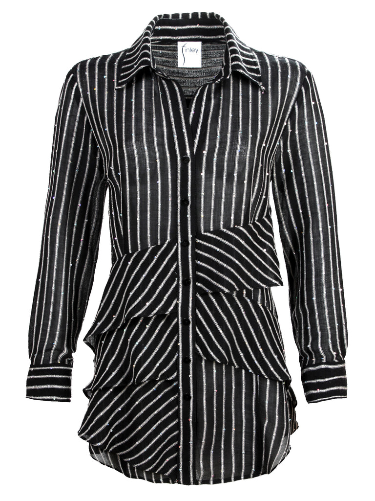 Jenna Long Sleeve Sequin Stripe