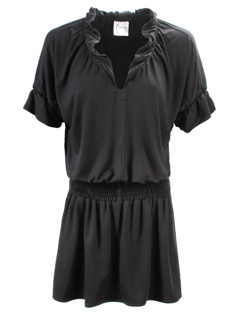 Smocked Crosby Dress Black Bamboo Knit