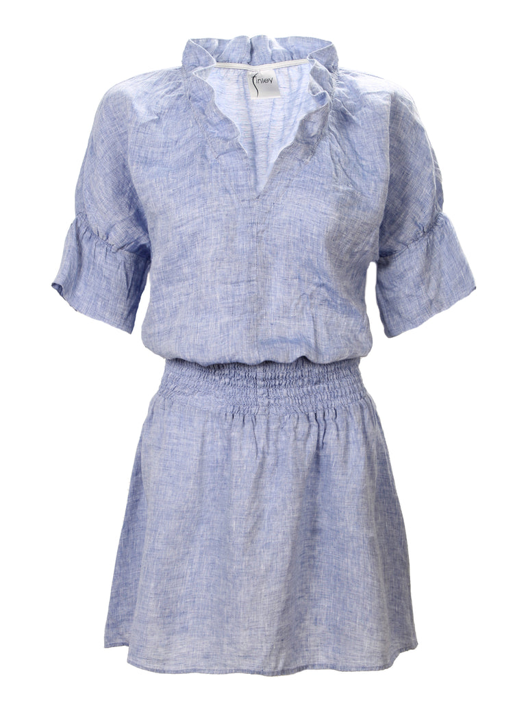 Smocked Crosby Dress Blue Linen