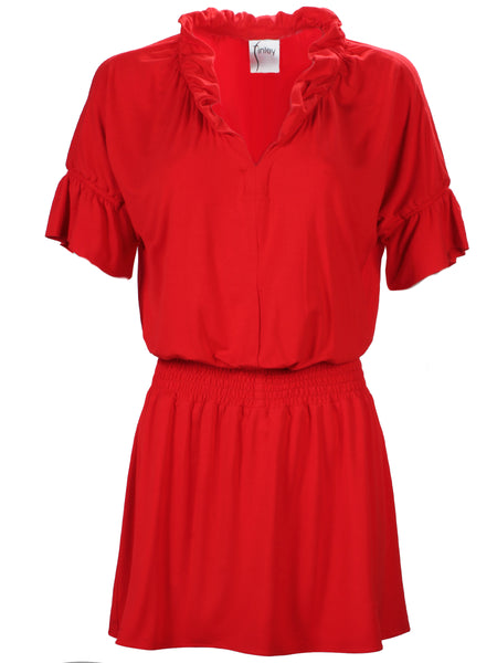 Smocked Crosby Dress Red Bamboo Knit
