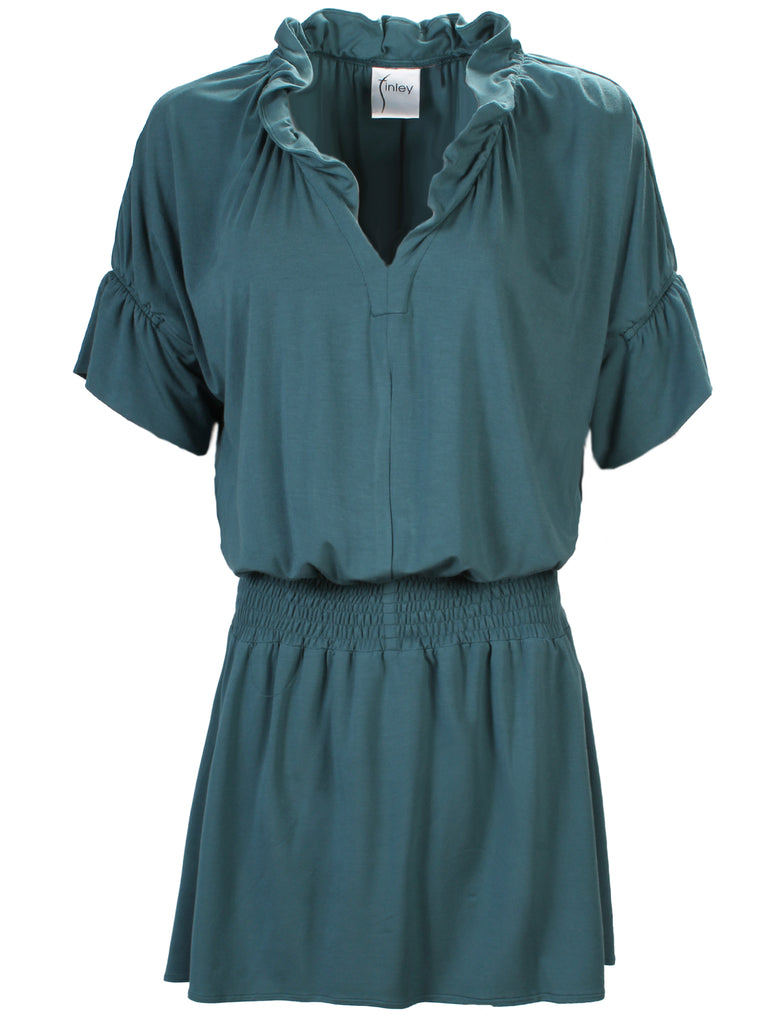 Smocked Crosby Dress Teal Bamboo Knit