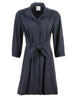 3/4 Sleeve Rocky Dress Black Silky Poplin