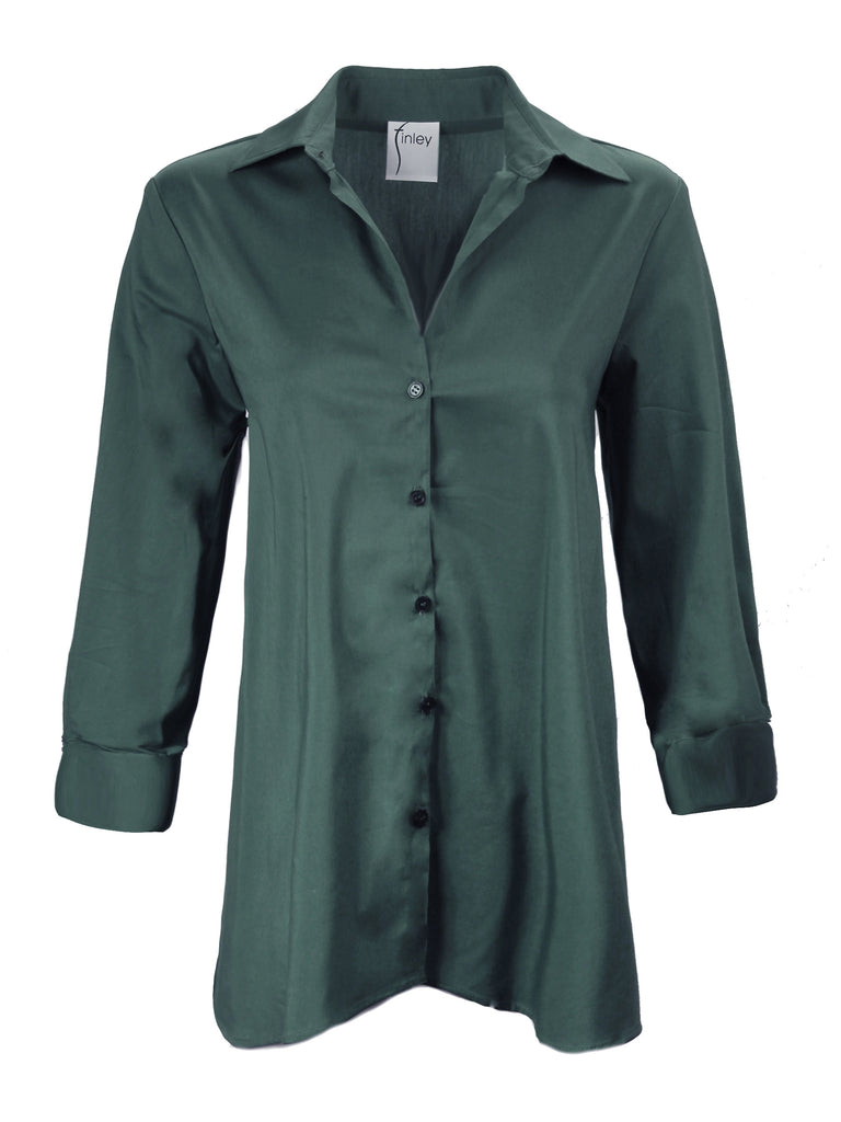Trapeze Top 3/4 sleeve Basil Green