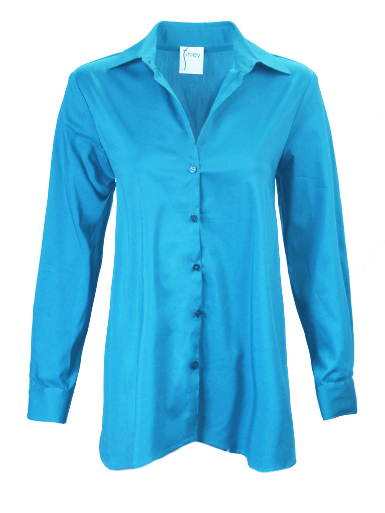 Trapeze Top Long Sleeve Turquoise
