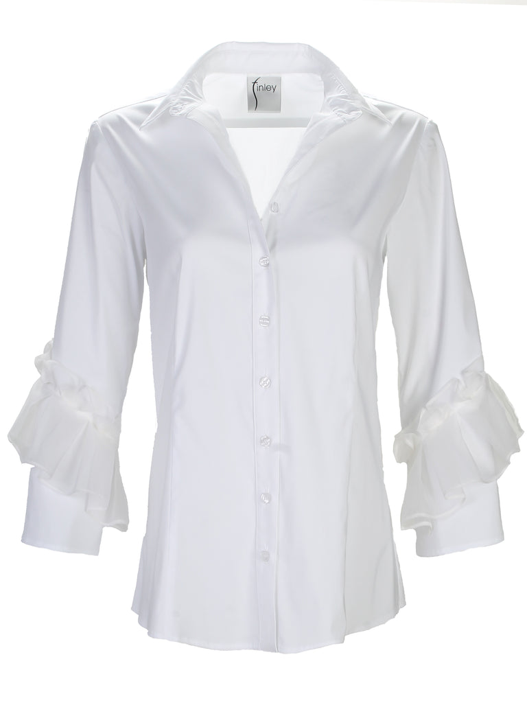 Vera Organza Pleated Sleeve White
