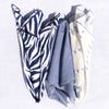 "Pack of 3 Scarves - 22"" x 22"" - Navy Zebra/Chambray/Blue Eyelash"