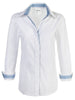 Boyfriend Shirt White with Stripe Trim