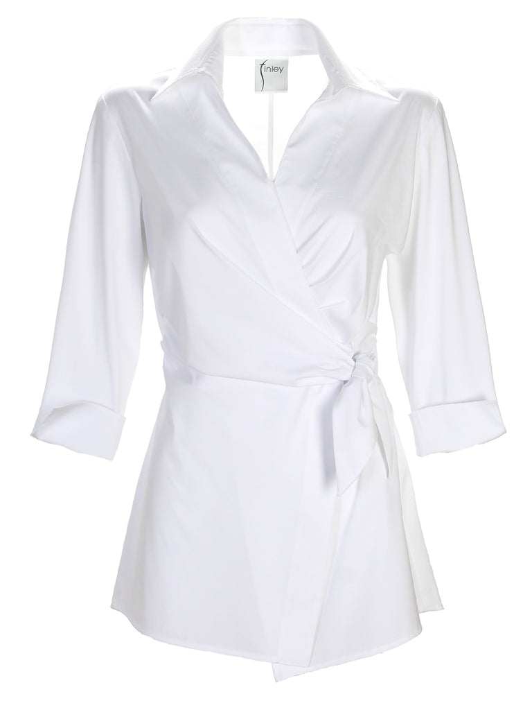 Courtney Wrap Shirt 3/4 Sleeve White Silky Poplin