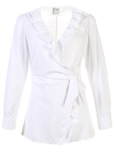 Courtney w/ Ruffle Wrap Shirt White