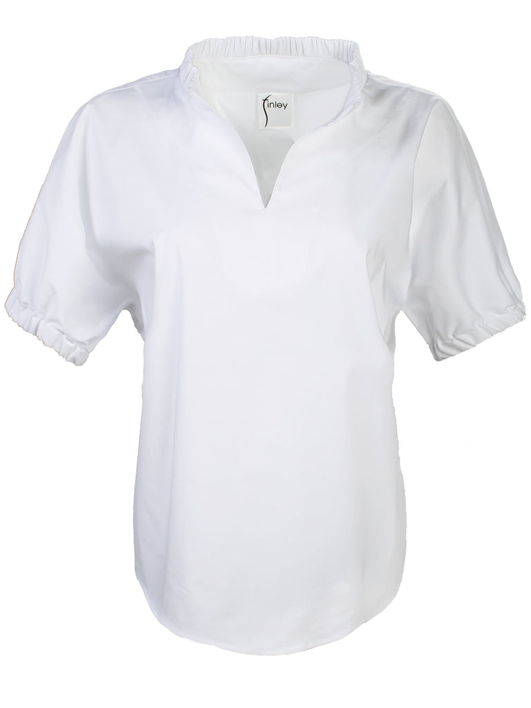Emerson Top White Silky Poplin