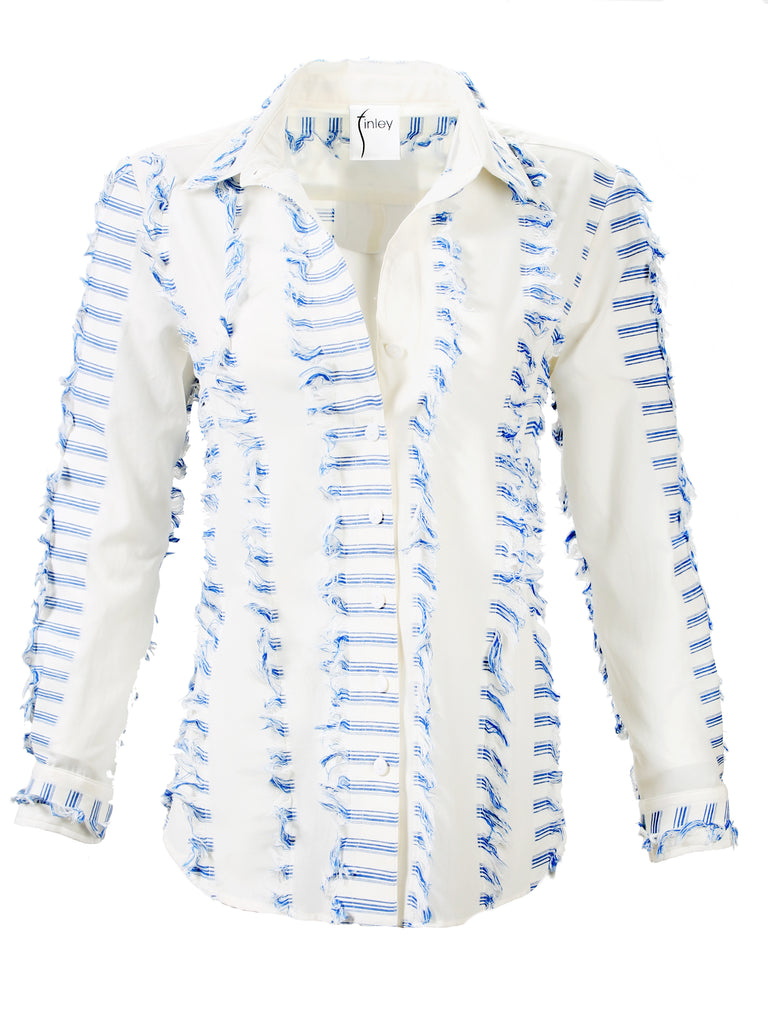 Alex Shirt Eyelash Stripe Blue