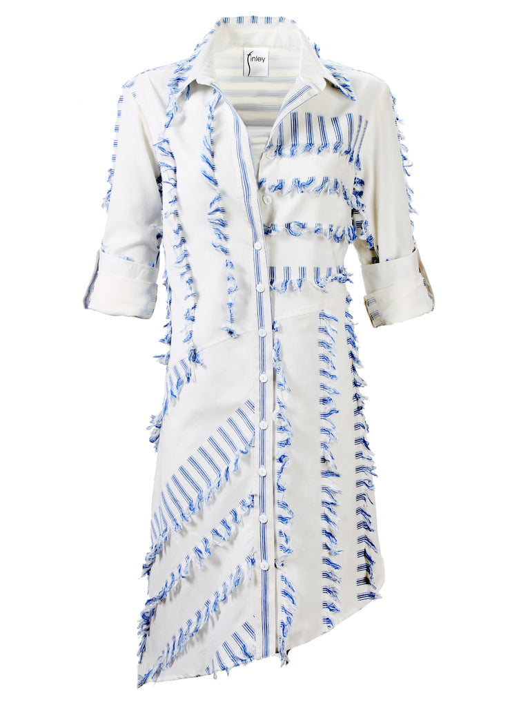 Asymmetric Popover Dress Eyelash Stripe Blue
