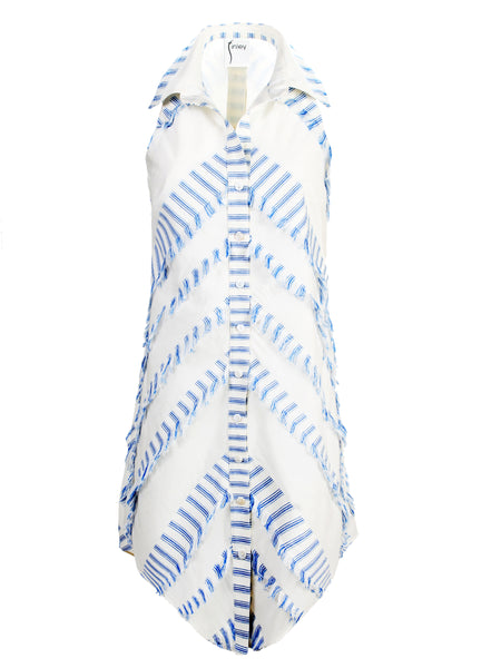 Swing Dress Eyelash Stripe Blue