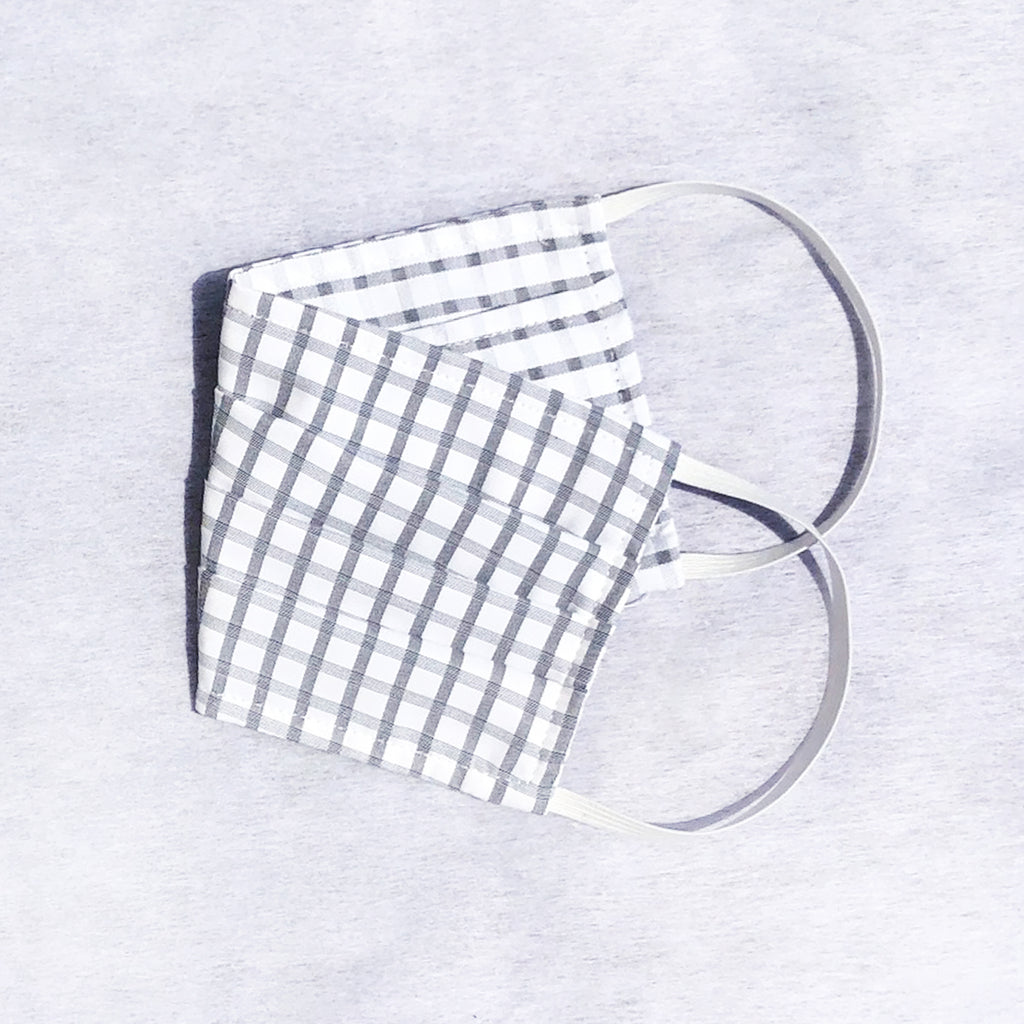 Pack of 3 Face Masks Grey Windowpane Check - available now!