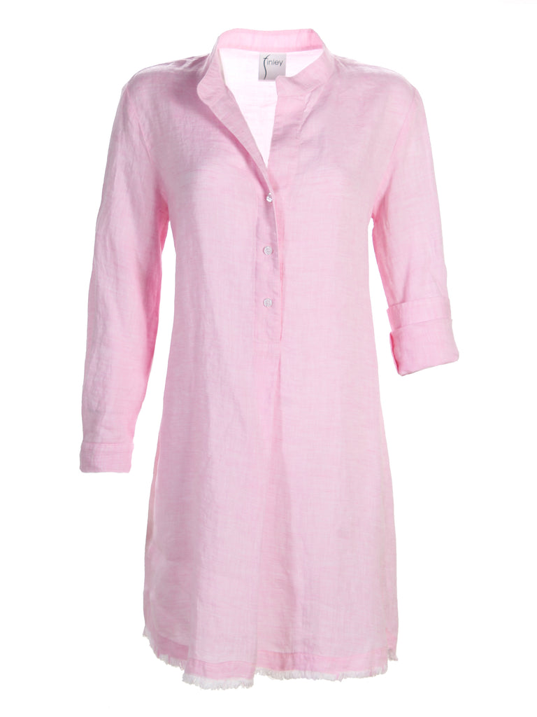 Washed Linen Henri Dress Pink
