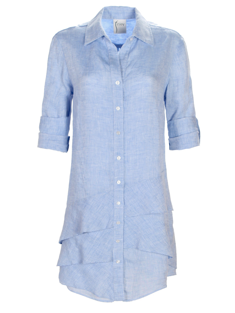 Washed Linen Jenna Dress Blue