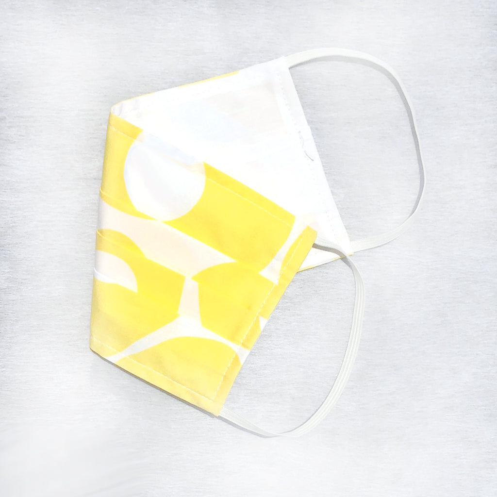 "Pack of 3 Face Masks Sunshine Print with 4"" Wire Nose Bridge - available now!"