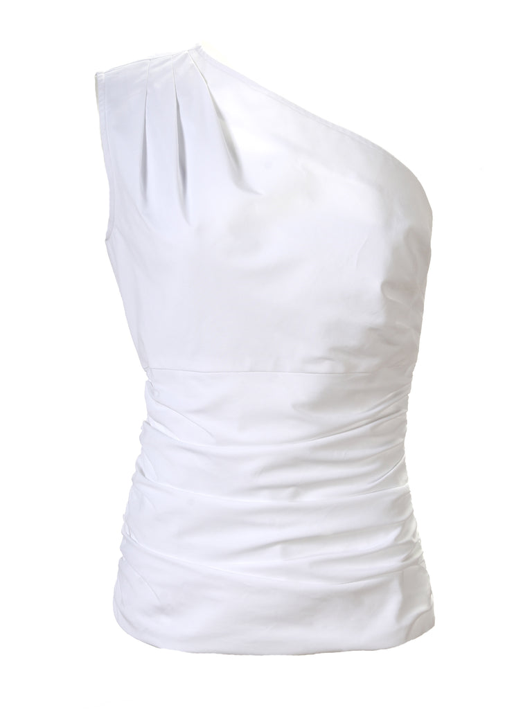 Sheila One Shoulder Top White
