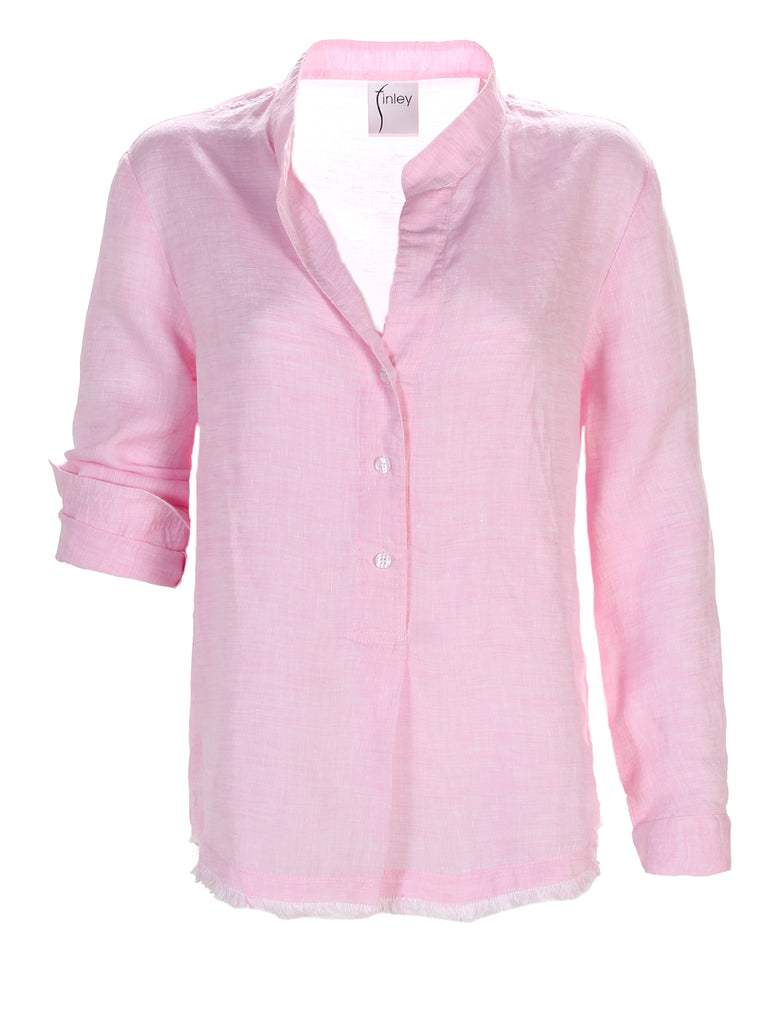 Washed Linen Henri Shirt Pink