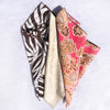 "Pack of 3 Scarves - 22"" x 22"" - Brown Zebra/Sand Santorini Voile/Pink Paisley"