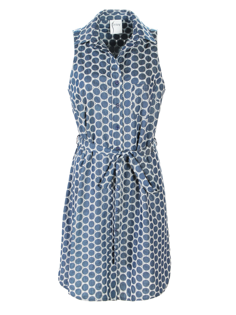 Sleeveless Alex Shirtdress Denim Dot