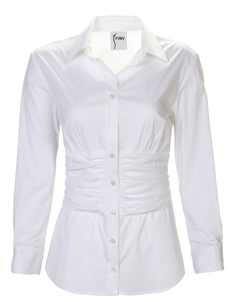 Walker Shirred Waist Shirt Silky Poplin