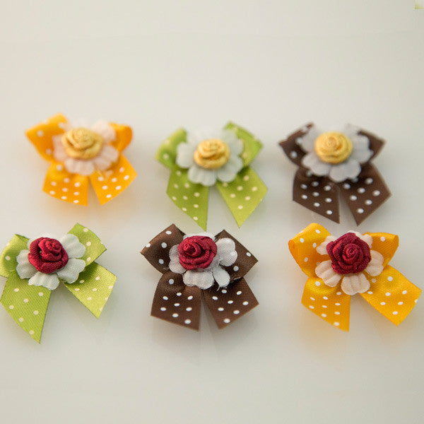 Pet Grooming Bows - Autumn Roses - Detail