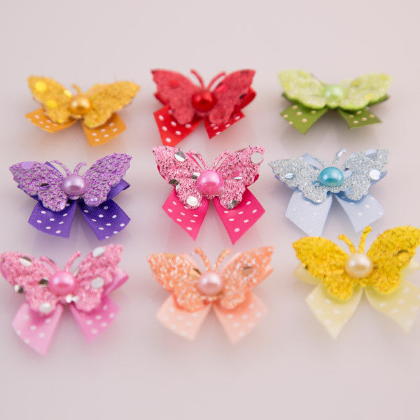 Pet Grooming Bows - Glitter Butterfly - Detail