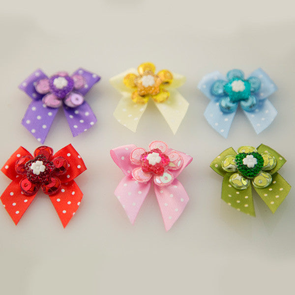 Pet Grooming Bows - Glitter Flower & Heart - Detail
