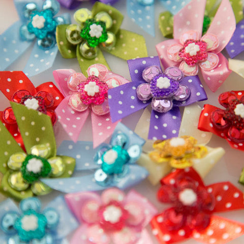 Pet Grooming Bows - Glitter Flower & Heart - Main