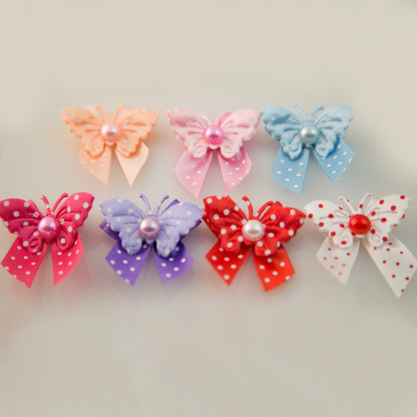 Pet Grooming Bows - Polka Dot Butterflies - Detail