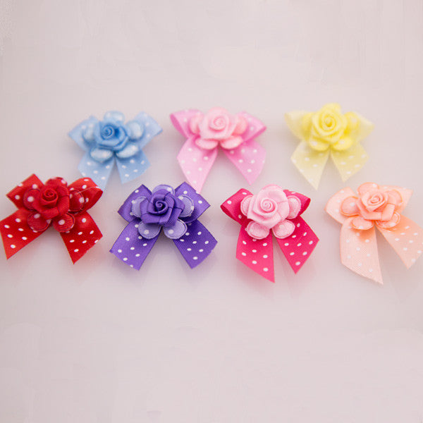Pet Grooming Bows - Polka Dot Flowers - Detail