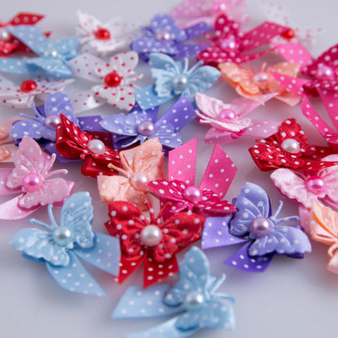 Dog's Grooming Bows - Polka Dot Butterflies - Main