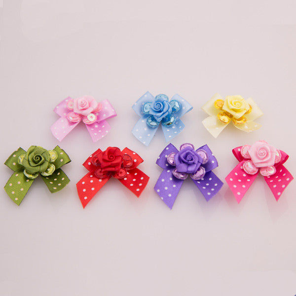 Pet Grooming Bows - Polka Glitter Roses - Detail