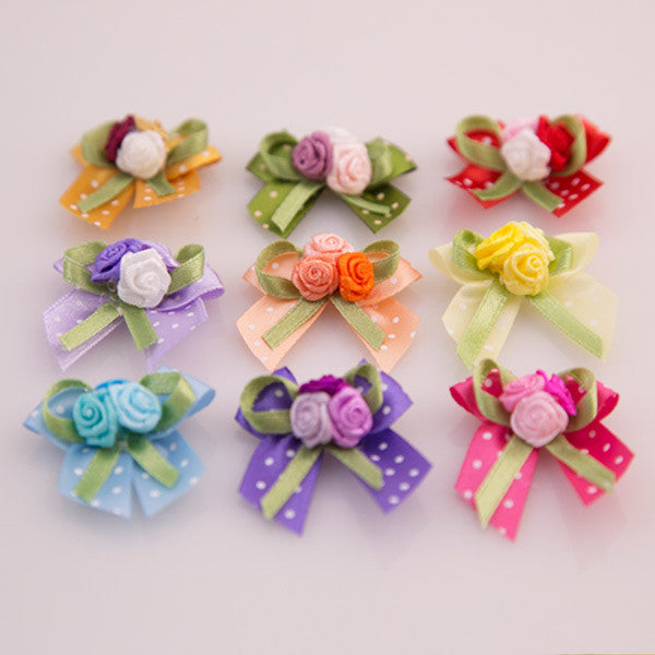 Pet Grooming Bows - Rose Bouquet - Detail