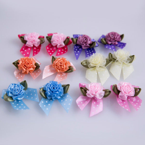 Dog-Grooming - Bows-Wild Roses - Detail