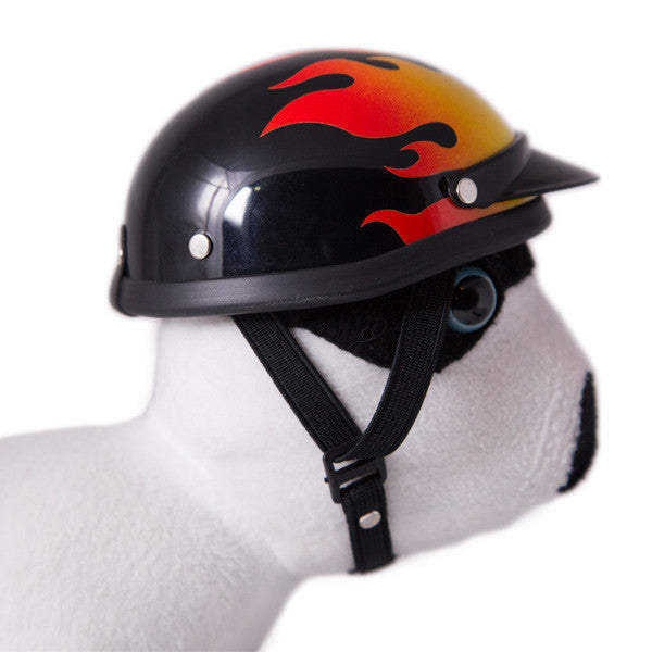 Dog Helmet - Flame - Strap